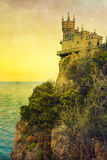 Swallow's Nest castle. The well-known Crimean castle Swallow's Nest, with vintage postcard style stock image