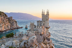 The Swallow's Nest is a decorative castle located at Gaspra, Crimea. The Swallow's Nest is a decorative castle located at Gaspra, a small spa town between Yalta stock photo