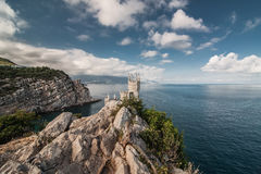 Swallow's Nest is a decorative castle located at Yalta, Crimea, Russia, Ukraine. The Swallow's Nest is a decorative castle located at Gaspra, a small spa town royalty free stock photography