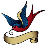 Swallow tattoo stock illustration