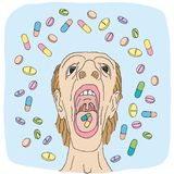 Swallowing pills (vector) Stock Image