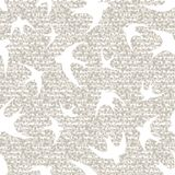 Swallows  with floral ornaments. White silhouettes of swallows on a beige background with floral ornaments  Seamless texture Stock Image