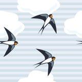 Swallows flying vector illustration