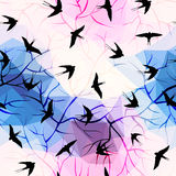 Swallows on geometrical background with branches Stock Photography
