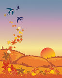Swallows leaving in autumn. A hand drawn illustration of a group of swallows leaving in autumn with leaves and a sunset landscape Stock Image
