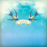 Swallows mail vintage postcard Royalty Free Stock Image