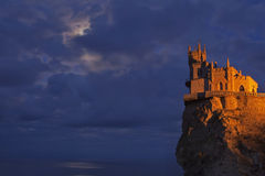 Swallows Nest castle on the background of a stormy sky Royalty Free Stock Photography