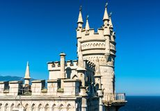 The Swallows Nest Castle near Yalta in Crimea. The Swallows Nest, a major tourist attraction near Yalta in Crimea stock photo