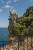 Swallows Nest in Crimea. A small building in the style of a castle on a cliff Stock Image