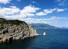 Swallows nest in the Yalta. Black sea, Bear-mountain in the Crimea stock photography