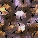 Swallows on night sky background stock illustration