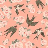 Swallows and peonies Stock Image
