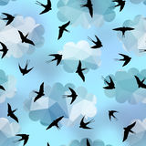 Swallows on sky background Stock Image