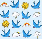Swallows, smiling clouds, rainbow, sun. stock illustration