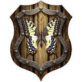 Swallowtail butterfly on oak heraldic knight shield Stock Photos