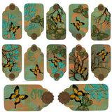 Swallowtail Butterfly Tag Labels. Swallowtail butterfly patina tag label set Stock Images