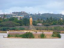 Swami Vivekananda Statue in Unkal Lake, Karnataka, India. Unkal lake is a must visit spot in Hubli, Karnataka, India. This is a photograph of Swami Vivekananda royalty free stock image