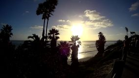 SWAMIS Beach Sunset with Palms 1 California stock video footage