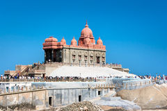 SwamiVivekananda minnesmärke, Kanyakumari, Indien Arkivbilder
