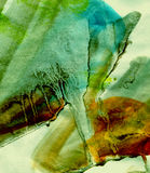 Swamp Grunge Painting. Brushstrokes and blotches on rough textured paper.  Swampy green hues. (Part of series Royalty Free Stock Photo