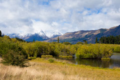 Swamp, peaks and Mt Aspiring NP, Southern Alps, NZ Stock Images