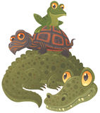 Swamp Squad. Cartoon vector illustration of an alligator, a turtle and a frog hanging out together, stacked in a pyramid stock illustration