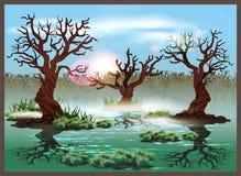 Swamp. Stylized vector illustration marshland. Seamless horizontally if needed Stock Image
