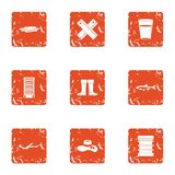 Swamp walk icons set, grunge style. Swamp walk icons set. Grunge set of 9 swamp walk vector icons for web isolated on white background Stock Photo
