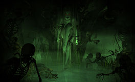 Swamp Witch. 3d illustration of a swamp witch surrounded by undead minions Royalty Free Stock Photos