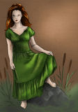 Swamp witch in green dress. Pencil drawing, sketch. Red haired girl wearing long old fashioned green dress, standing on the stone with a swamp around Royalty Free Stock Images