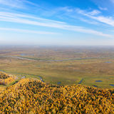Swampy plain in autumn, top view Royalty Free Stock Photos