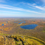 Swampy plain in autumn, top view Stock Image