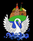 Swan. Illustration for child story about swan Stock Images