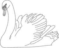 Swan. Rhinestones/ outline dots of a swan vector illustration