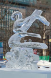 Swan bird ice sculpture at Ottawa`s Winterlude Stock Images