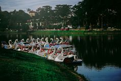 Swan Boat Docked on River Royalty Free Stock Photos