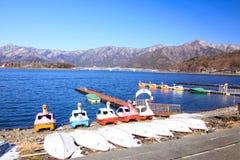 Swan boat in Kawaguchi lake Royalty Free Stock Photography