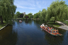 Swan boat ride at beautiful park lagoon Stock Image