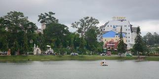 Swan boat on Xuan Huong lake in Dalat, Vietnam Stock Image