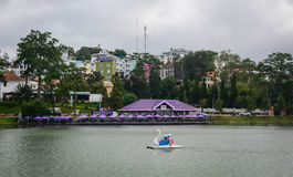 Swan boat on Xuan Huong lake in Dalat, Vietnam Royalty Free Stock Photo