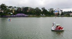 Swan boat on Xuan Huong lake in Dalat, Vietnam Stock Photos