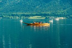 Swan boats on Hallstatter See royalty free stock image