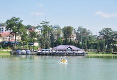 Swan boats on the lake in Dalat, Vietnam Royalty Free Stock Photo