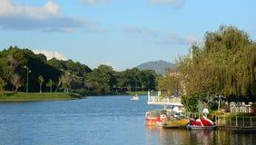 Swan boats on Xuan Huong lake in Dalat, Vietnam Royalty Free Stock Photography