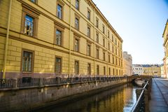 The Swan Canal Embankment at the Winter Palace, St. Petersburg, Russia royalty free stock photos