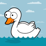 Swan Cartoon. White swan in the water. Lovely Swan. Swan Cartoon illustration. A swan swimming on a water vector illustration