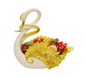Swan ceramic with fruit Royalty Free Stock Photography