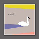 Swan on color block background. Scandinavian style poster Stock Photo