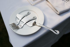 Swan decorated tableware Stock Images
