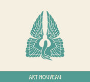 Swan. Design element in art nouveau style Royalty Free Stock Images